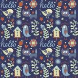 Άνευ ραφής χαριτωμένο ζωικό σχέδιο με τις γάτες, πουλί, λουλούδι, γειά σου, μούρο, birdhouse Στοκ εικόνα με δικαίωμα ελεύθερης χρήσης