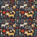 Άνευ ραφής χαριτωμένο ζωικό σχέδιο φθινοπώρου που γίνεται με την αλεπού Στοκ Εικόνες