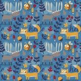 Άνευ ραφής χαριτωμένο ζωικό σχέδιο φθινοπώρου που γίνεται με την αλεπού Στοκ Φωτογραφίες