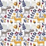 Άνευ ραφής χαριτωμένο ζωικό σχέδιο φθινοπώρου που γίνεται με την αλεπού Στοκ φωτογραφίες με δικαίωμα ελεύθερης χρήσης