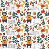 Άνευ ραφής χαριτωμένο ζωικό σχέδιο φθινοπώρου που γίνεται με την αρκούδα Στοκ εικόνες με δικαίωμα ελεύθερης χρήσης