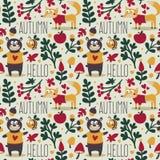 Άνευ ραφής χαριτωμένο ζωικό σχέδιο φθινοπώρου που γίνεται με την αρκούδα Στοκ Εικόνες