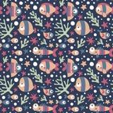 Άνευ ραφής χαριτωμένο θαλάσσιο σχέδιο με τα ψάρια, φύκι, κοράλλι, αστερίας, βυθός, άλγη, φυσαλίδα Στοκ Φωτογραφίες
