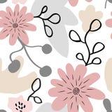 Άνευ ραφής χαριτωμένο σχέδιο με τα floral στοιχεία στα χρώματα κρητιδογραφιών Στοκ εικόνες με δικαίωμα ελεύθερης χρήσης