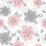Άνευ ραφής χαριτωμένο σχέδιο με τα floral στοιχεία στα χρώματα κρητιδογραφιών Στοκ Εικόνες