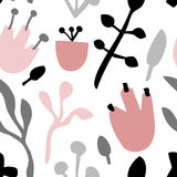 Άνευ ραφής χαριτωμένο σχέδιο με τα floral στοιχεία στα χρώματα κρητιδογραφιών Στοκ εικόνα με δικαίωμα ελεύθερης χρήσης
