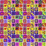 Άνευ ραφής χαριτωμένο σχέδιο με τις χρωματισμένες καρδιές Στοκ Εικόνα