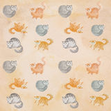 Άνευ ραφής χαριτωμένο σχέδιο watercolor γατών Στοκ εικόνα με δικαίωμα ελεύθερης χρήσης
