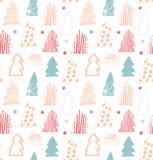 Άνευ ραφής χαριτωμένο χειμερινό σχέδιο Διακοσμητικό ευγενές υπόβαθρο με τις ερυθρελάτες, fir-trees Στοκ Φωτογραφία