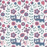 Άνευ ραφής χαριτωμένο floral και ζωικό σχέδιο με τη γάτα, πουλί, λουλούδια, φυτά, φύλλο, μούρο Στοκ Εικόνες