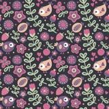 Άνευ ραφής χαριτωμένο floral σχέδιο με το πουλί, λουλούδια, φυτά, φύλλο, μούρο, καρδιά Στοκ Εικόνες
