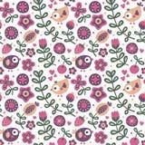 Άνευ ραφής χαριτωμένο floral σχέδιο με το πουλί, λουλούδια, φυτά, φύλλο, μούρο, καρδιά Στοκ φωτογραφίες με δικαίωμα ελεύθερης χρήσης