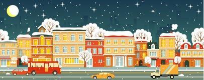 Άνευ ραφής χειμερινό υπόβαθρο οδών πόλεων νύχτας Στοκ Εικόνες