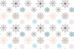 άνευ ραφής χειμώνας προτύπ&omega Πολύχρωμα snowflakes σε ένα άσπρο υπόβαθρο ελεύθερη απεικόνιση δικαιώματος