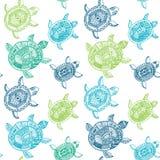 άνευ ραφής χελώνες προτύπ&omega Το άνευ ραφής σχέδιο μπορεί να χρησιμοποιηθεί για Στοκ Φωτογραφία