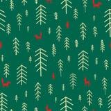 Άνευ ραφής χριστουγεννιάτικα δέντρα σχεδίων Στοκ Εικόνες