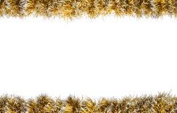 Άνευ ραφής χρυσό ασημένιο tinsel Χριστουγέννων πλαίσιο η ανασκόπηση απομόνωσε το λευκό στοκ εικόνα