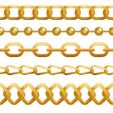 Άνευ ραφής χρυσό πρότυπο αλυσίδων Στοκ Εικόνες
