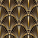 Άνευ ραφής χρυσό σχέδιο του Art Deco με τα αφηρημένα κοχύλια διανυσματική απεικόνιση