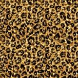 Άνευ ραφής χρυσό σχέδιο λεοπαρδάλεων Λάμποντας άγρια περιοχές Στοκ Φωτογραφίες
