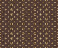 Άνευ ραφής χρυσό σχέδιο στο καφετί υπόβαθρο Στοκ Εικόνα