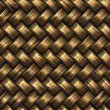 Άνευ ραφής χρυσό σχέδιο ύφανσης BasketTwill ράστερ Στοκ Εικόνες