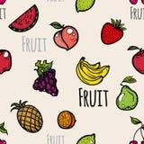 Άνευ ραφής χρωματισμένα σχέδιο εικονίδια φρούτων Στοκ εικόνες με δικαίωμα ελεύθερης χρήσης