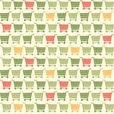Άνευ ραφής χρωματισμένο κάρρο σχέδιο αγορών Στοκ Φωτογραφία