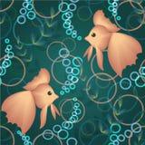 Άνευ ραφής ψάρια με τις φυσαλίδες νερού Στοκ Εικόνες