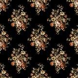 Άνευ ραφής όμορφο σχέδιο λουλουδιών με το μαύρο υπόβαθρο ελεύθερη απεικόνιση δικαιώματος