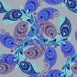 Άνευ ραφής ύφος σχεδίων του Paisley στα μπλε χρώματα Στοκ εικόνα με δικαίωμα ελεύθερης χρήσης