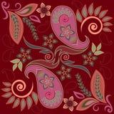Άνευ ραφής burgundy σχέδιο με το Paisley και τα λουλούδια Διανυσματικό τετράγωνο τυπωμένων υλών Στοκ Φωτογραφία