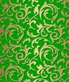 Άνευ ραφής damask μπαρόκ χρυσό σχέδιο στο πράσινο υπόβαθρο Στοκ εικόνες με δικαίωμα ελεύθερης χρήσης