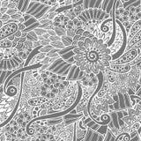 Άνευ ραφής floral αναδρομικό doodle γραπτό απεικόνιση αποθεμάτων