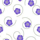 Άνευ ραφής floral γεράνι λιβαδιών σχεδίων ιώδες στο άσπρο υπόβαθρο, διάνυσμα Στοκ Φωτογραφία