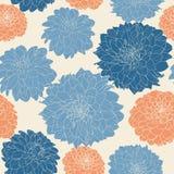 Άνευ ραφής floral εκλεκτής ποιότητας ιαπωνικό μπλε-άσπρο σχέδιο asters Στοκ εικόνες με δικαίωμα ελεύθερης χρήσης