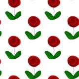 Άνευ ραφής floral επαναλαμβανόμενο σχεδίων συρμένο χέρι αφηρημένο άσπρο υπόβαθρο φύλλων τριαντάφυλλων πράσινο, κλωστοϋφαντουργικό διανυσματική απεικόνιση