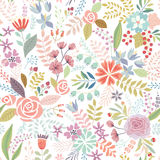 Άνευ ραφής Floral ζωηρόχρωμο συρμένο χέρι σχέδιο Στοκ εικόνες με δικαίωμα ελεύθερης χρήσης