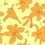 Άνευ ραφής floral ηλιόλουστο εκλεκτής ποιότητας ιαπωνικό κίτρινο σχέδιο κρίνων Στοκ φωτογραφία με δικαίωμα ελεύθερης χρήσης
