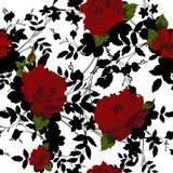 Άνευ ραφής floral πρότυπο με τα κόκκινα τριαντάφυλλα Στοκ εικόνα με δικαίωμα ελεύθερης χρήσης