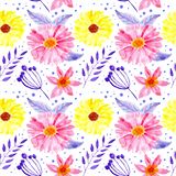 Άνευ ραφής floral ρόδινα και κίτρινα λουλούδια watercolor σχεδίων διανυσματική απεικόνιση