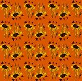 Άνευ ραφής floral σχέδιο: Ηλίανθοι και τρίγωνα ελεύθερη απεικόνιση δικαιώματος