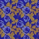Άνευ ραφής floral σχέδιο με τα μπλε τριαντάφυλλα ελεύθερη απεικόνιση δικαιώματος