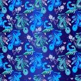 Άνευ ραφής floral σχέδιο με τα μπλε φανταστικά πουλιά Διακοσμητικός ή Στοκ Εικόνες