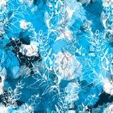 Άνευ ραφής floral σχέδιο περιγράμματος στο αφηρημένο υπόβαθρο watercolor Στοκ Εικόνες