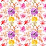Άνευ ραφής floral σχέδιο watercolor, κίτρινα και πορφυρά λουλούδια διανυσματική απεικόνιση