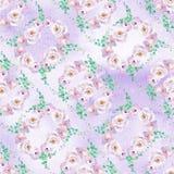 Άνευ ραφής floral σχέδιο watercolor στα πράσινα και ανοικτό μωβ ιώδη χρώματα μεντών με τα στεφάνια τριαντάφυλλων στοκ φωτογραφίες με δικαίωμα ελεύθερης χρήσης