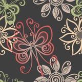 Άνευ ραφής Floral σχέδιο με τα έντομα (διάνυσμα) Στοκ φωτογραφία με δικαίωμα ελεύθερης χρήσης
