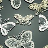 Άνευ ραφής Floral σχέδιο με τα έντομα (διάνυσμα) Στοκ Εικόνες