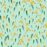 Άνευ ραφής floral σχέδιο με τα κίτρινα λουλούδια και τα φύλλα watercolor στο εκλεκτής ποιότητας ύφος - Που γίνεται χέρι Περίκομψο Στοκ φωτογραφία με δικαίωμα ελεύθερης χρήσης